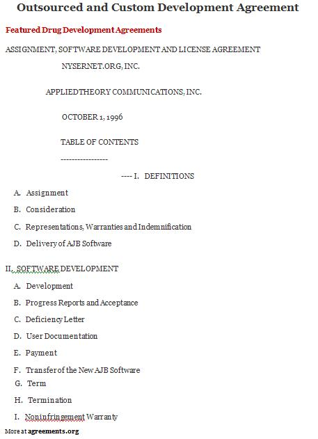 agreement sample outsourced and custom development agreement template
