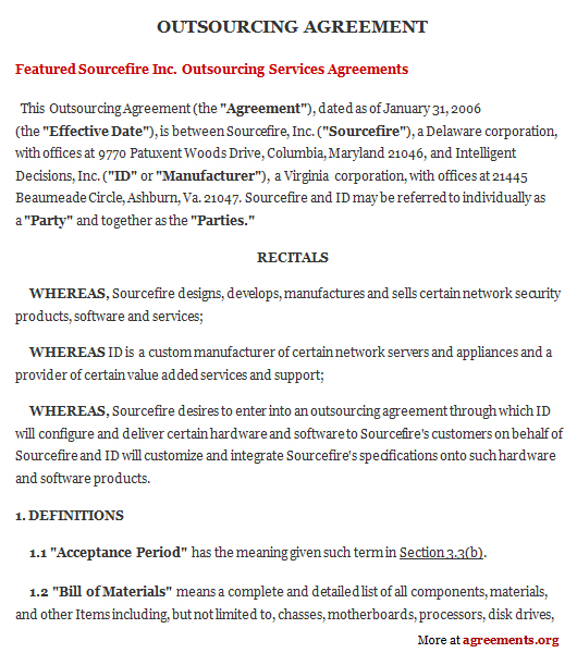 Download Outsourcing Agreement Template