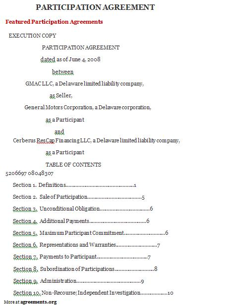 Download Participation Agreement Template