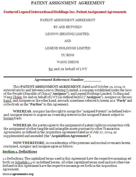 Patent Assignment Agreement, Sample Patent Assignment Agreement