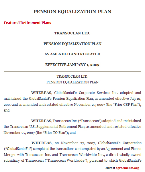 Download Pension Equalization Plan Agreement Template