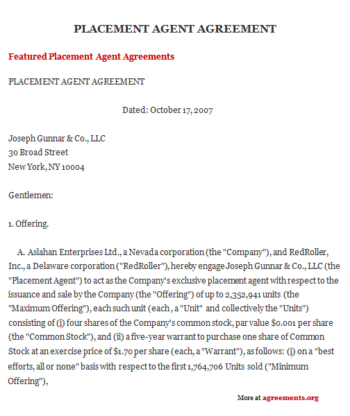 Placement Agent Agreement, Sample Placement Agent Agreement