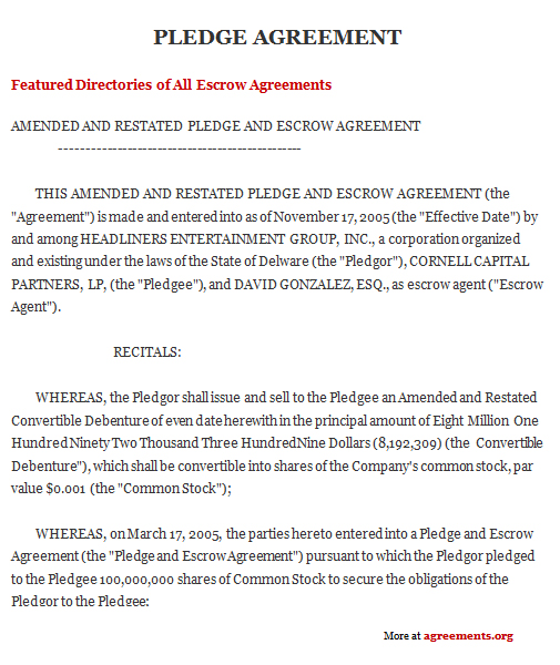 Pledge Agreement, Sample Pledge Agreement Template | Agreements.Org