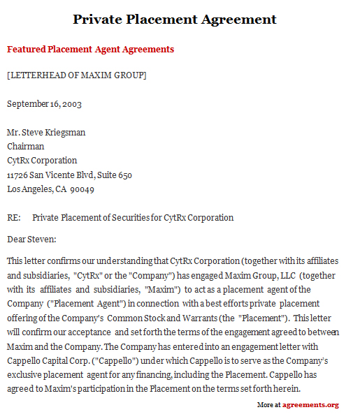 Sample Private Placement Agreement  Investor Contract Sample