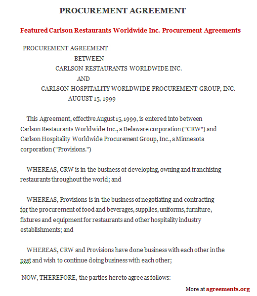 Download Procurement Contract Agreement Template