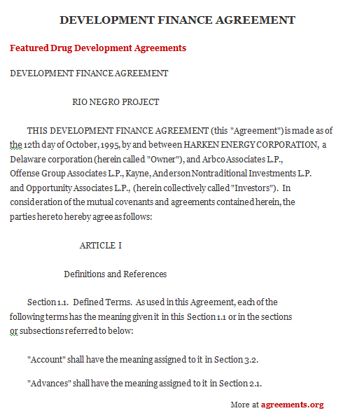 Project Finance Agreement, Sample Project Finance Agreement