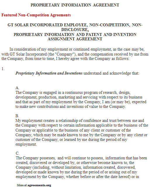 Download Proprietary Information Agreement Template