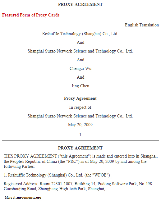 Proxy Agreement, Sample Proxy Agreement Template   Agreements.org