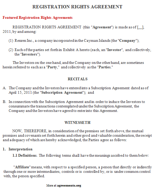 Download Registration Rights Agreement Template