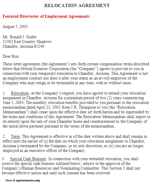 Relocation Agreement, Sample Relocation Agreement Template
