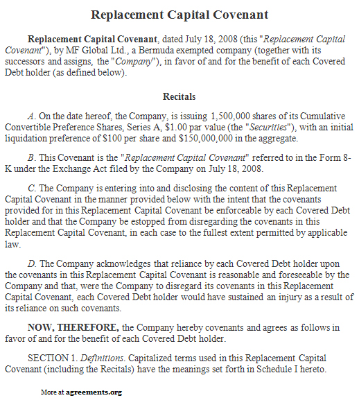 replacement capital covenant agreement sample replacement