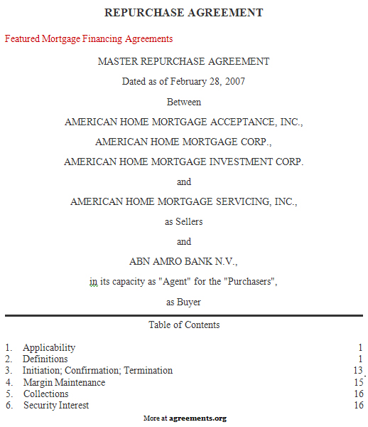 Repurchase Agreement, Sample Repurchase Agreement Template