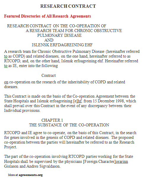 Research Contract Agreement, Sample Research Contract Agreement