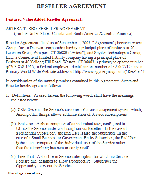 Reseller Agreement Sample Reseller Agreement TemplateagreementsOrg
