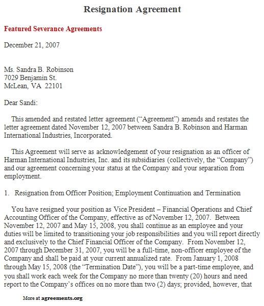 Resignation Agreement, Sample Resignation Agreement Template