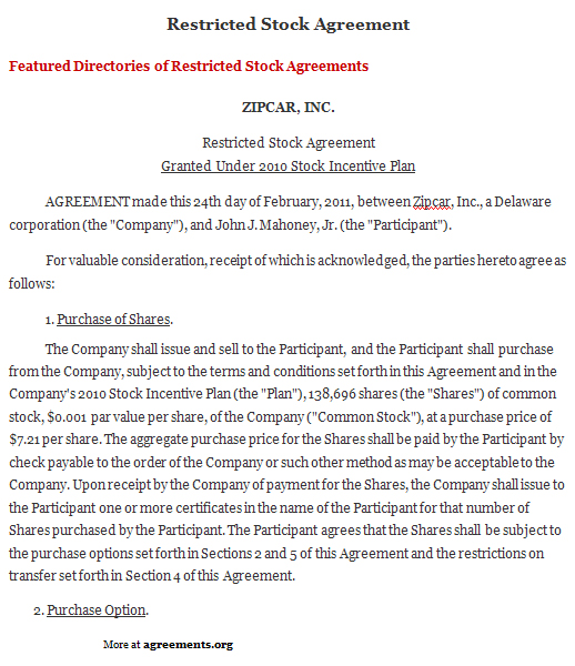 Restricted Stock Agreement Sample Restricted Stock Agreement