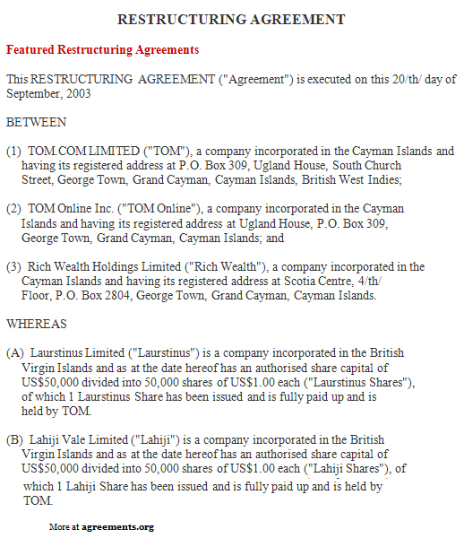 Restructuring Agreement Sample Restructuring Agreement Template