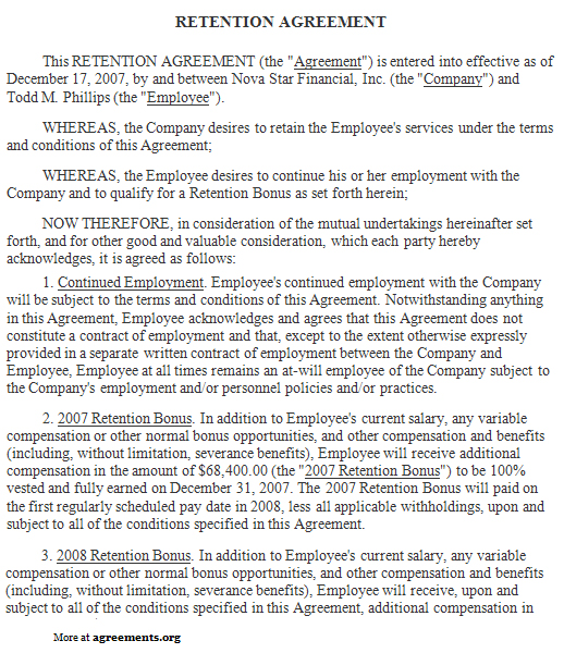Retention Agreement Sample Retention Agreement Template