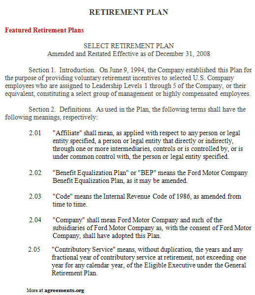 Retirement Plan Agreement Template - Download PDF