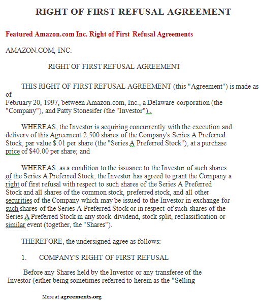 Right of First Refusal Agreement, Sample Right of First Refusal ...