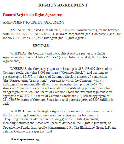 Rights Agreement Sample Rights Agreement TemplateagreementsOrg