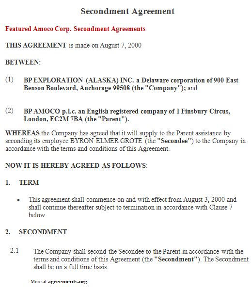 Download Secondment Agreement Template