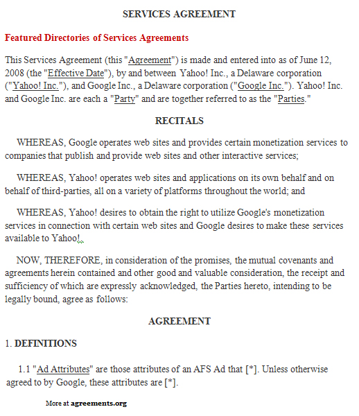 Services Agreement, Sample Services Agreement Template