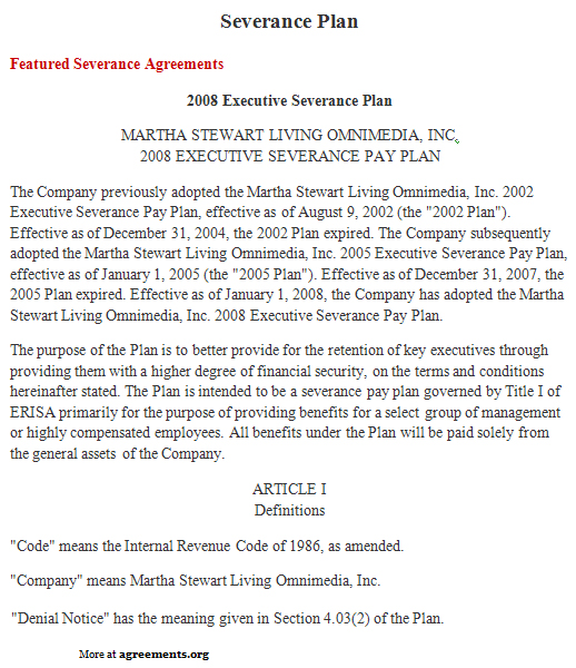 Severance Plan Agreement, Sample Severance Plan Agreement Template