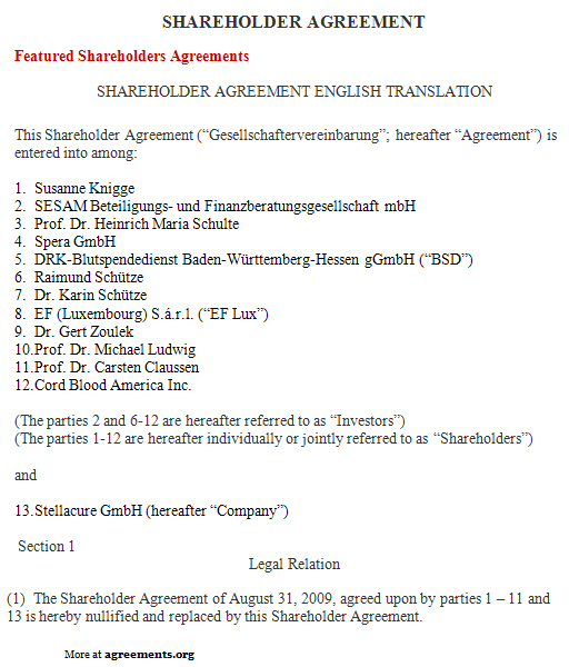 Shareholder Agreement, Sample Shareholder Agreement Template