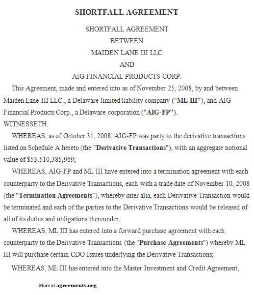 Shortfall Agreement, Sample Shortfall Agreement Template