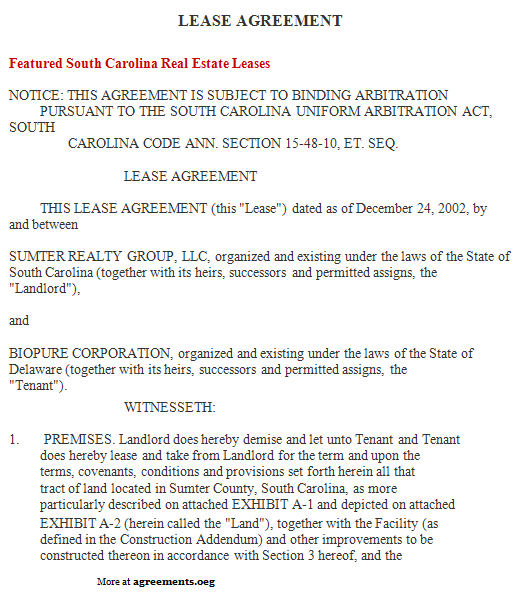 South Carolina Lease Agreement Sample South Carolina Lease – Lease Agreements Sample