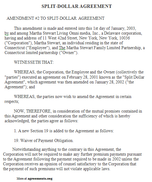 Split Dollar Agreement Template