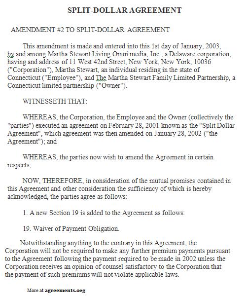 Split Dollar Agreement Template