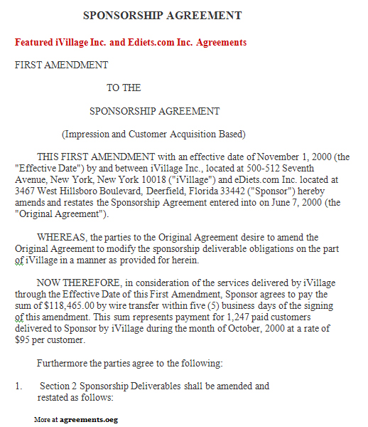 Sponsorship Agreement Sample Sponsorship Agreement