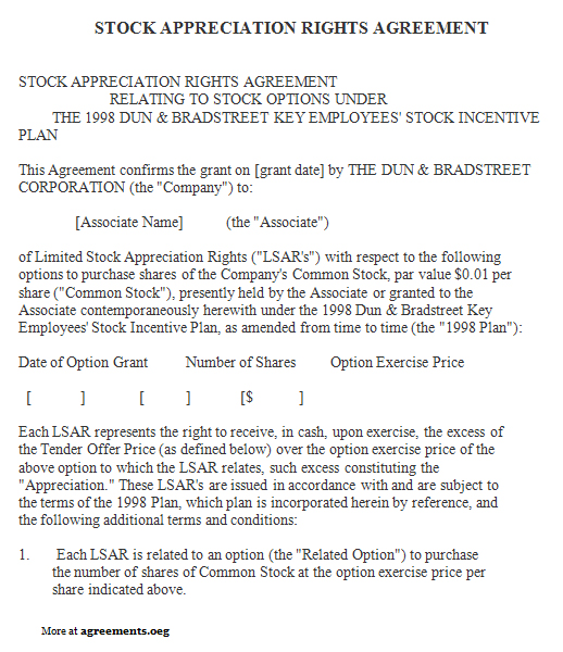 Stock Appreciation Rights Agreement, Sample Stock Appreciation