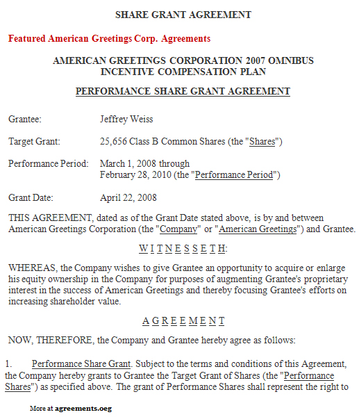 stock grant agreement  sample stock grant agreement template