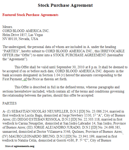 Stock Purchase Agreement, Sample Stock Purchase Agreement Template