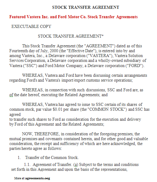 Stock Transfer Agreement Sample Stock Transfer Agreement
