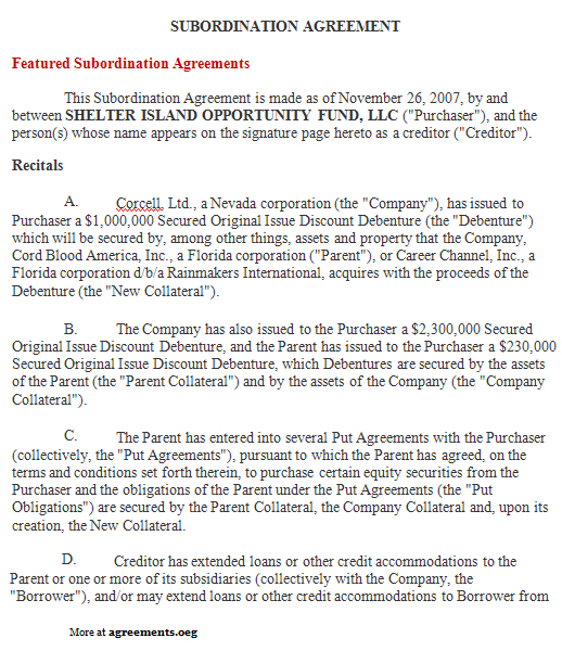 Subordination Agreement, Sample Subordination Agreement Template