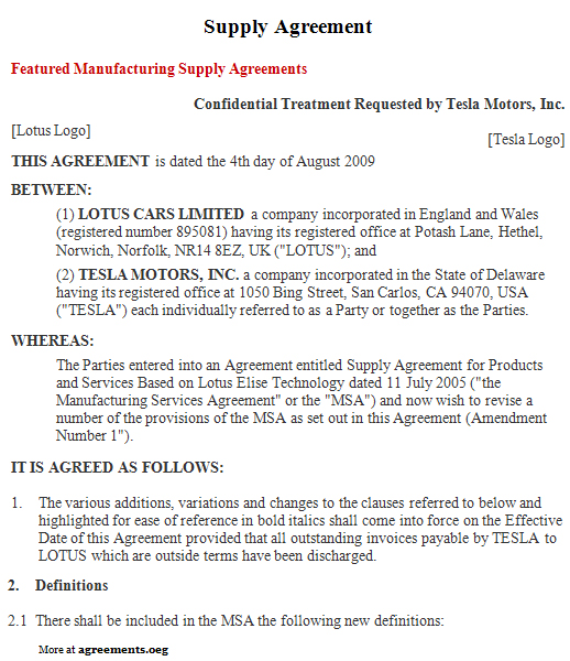 Supply Agreement Sample Supply Agreement Template – Vendor Contract Template