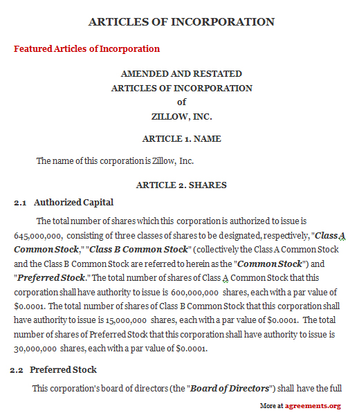 Articles Of Incorporation Agreement Sample Articles Of