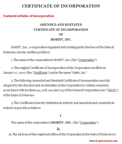 Download Certificate of Incorporation Agreement template
