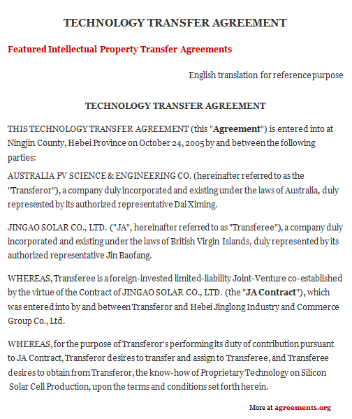 Technology Transfer Agreement, Sample Technology Transfer