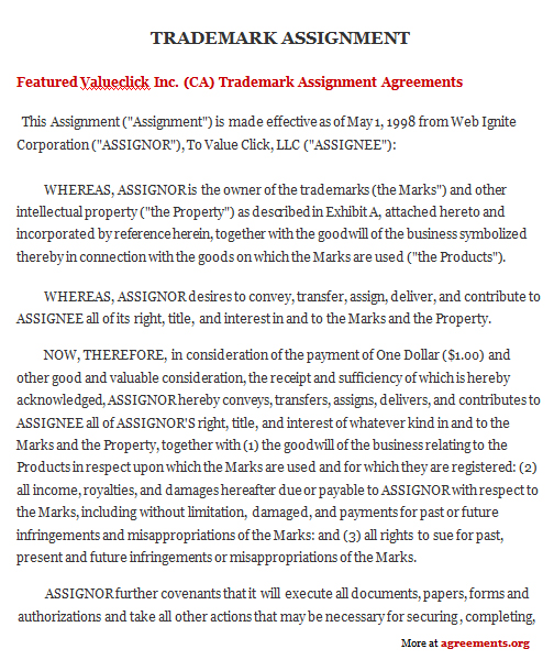 Trademark Assignment Agreement Sample Trademark Assignment