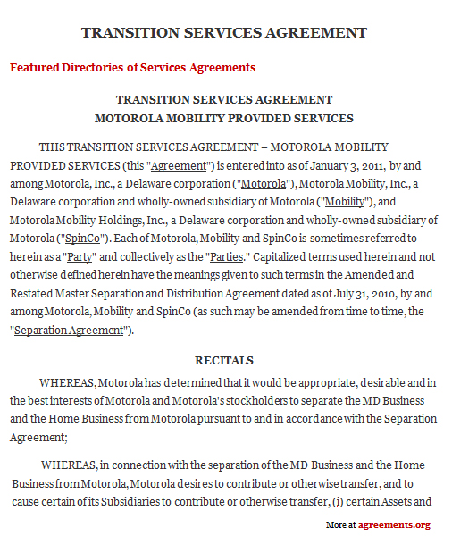 Transition Services Agreement Template - Download PDF