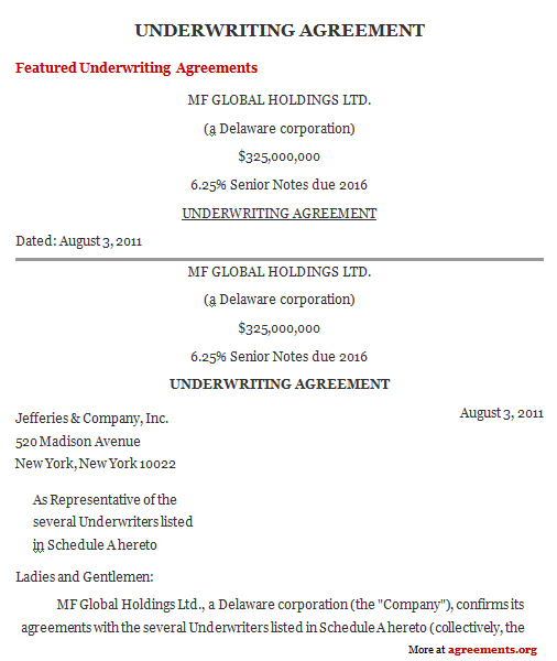 Underwriting Agreement Template Download