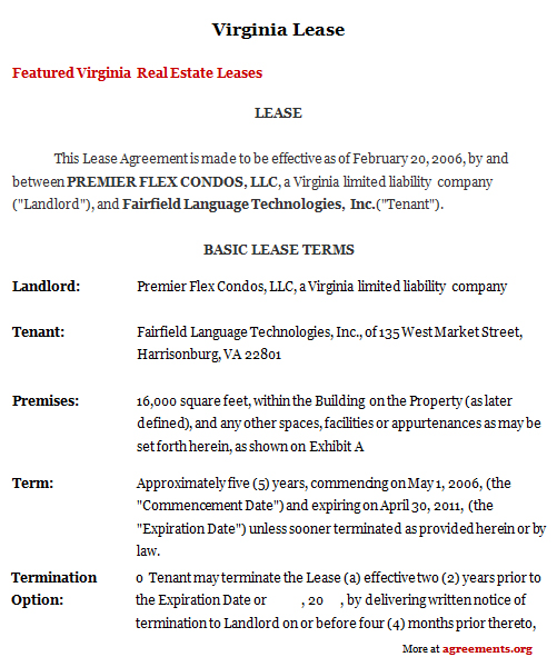 Virginia Lease Agreement, Sample Virginia Lease Agreement
