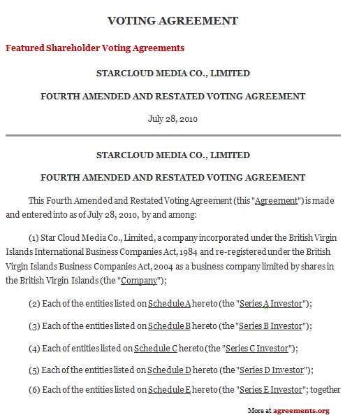 Voting Agreement, Sample Voting Agreement | Agreements.org