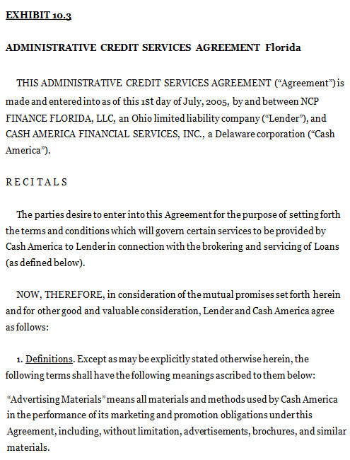 Administrative Credit Services Agreement