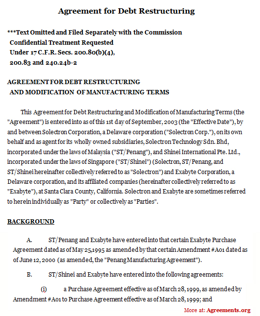 Agreement For Debt Restructuring